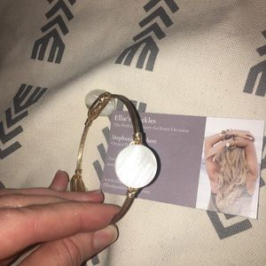 Ellie's Sparkles Gold Wire and Shell Bangle